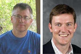 Environmental Studies major Peter Hess spoke to UNCG geography faculty Dan Royall (left) and Corey Johnson (right).