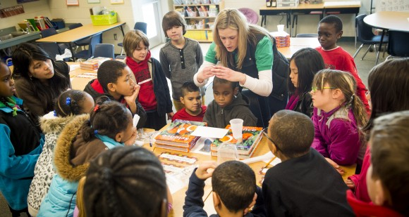 UNCG Alumna Kristin Boyce, uses a hands-on  pilot program developed by Dr. Heidi Carlone to teach her students engineering at Irving Park Elementary on Friday January 31, 2014. at (David Wilson/UNCG photo)