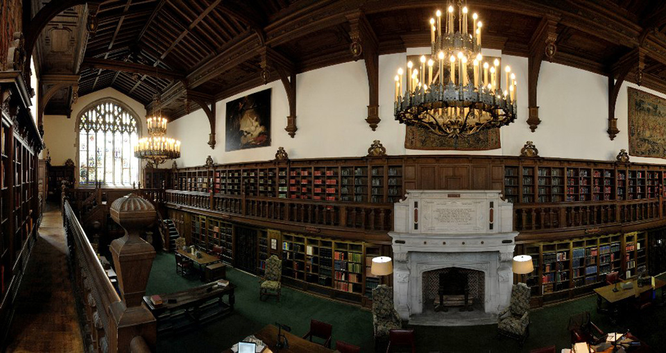 """Panorama of the Folger Shakespeare Library Old Reading Room looking north,"" Folger Digital Image Collection, by Tom Wachs and Erica Abbey"