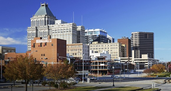 Greensboro skyline at Autumn