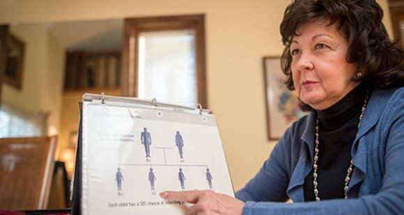 Nancy Adams explains how genetic disorders are passed down through family members.