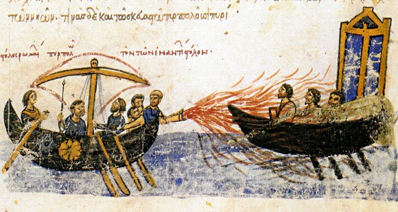 Image from an illuminated manuscript, the Madrid Skylitzes, showing Greek fire in use [Source: wikipedia.org]