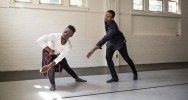 Duane Cyrus (right) works with recent UNCG BFA grad Devonte Wells [Photography by Mike Dickens]