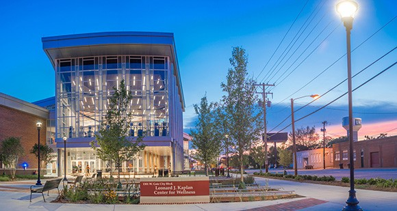 The new Health and Wellness District along Gate City Boulevard will leverage current university assets, including the Leonard J. Kaplan Center for Wellness.