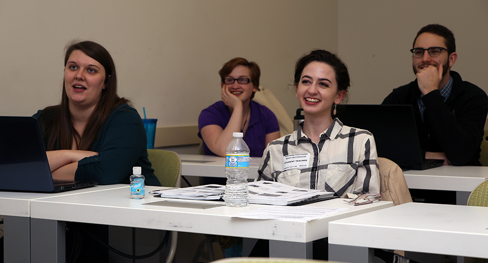 One of Journell's classes is a seminar for UNCG education students currently working as teaching assistants in social studies classrooms. [Photo by Mike Dickens]