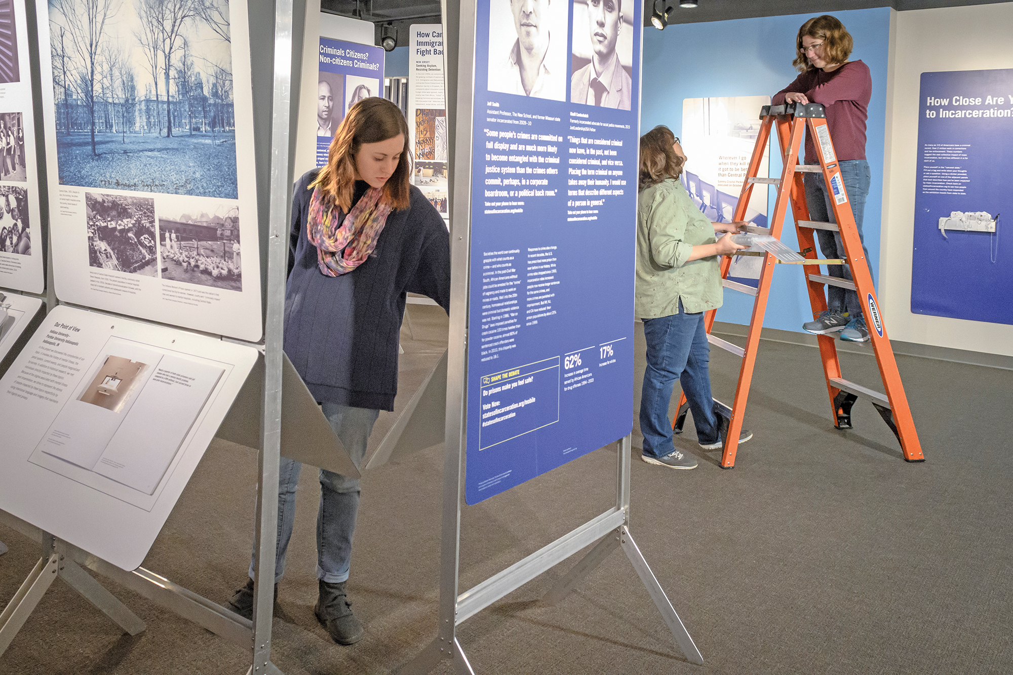 """Last fall, Parsons and graduate students in the museum studies program brought the national """"States of Incarceration"""" exhibition to the International Civil Rights Center & Museum in Greensboro. UNCG and 20 other universities contributed to the traveling exhibit, which explores the roots of mass incarceration. [Photo by Martin Kane]"""
